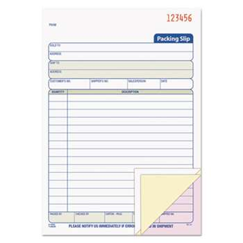 TOPS BUSINESS FORMS Packing Slip Book, 5 1/2 x 7 7/8, Three-Part Carbonless, 50 Sets/Book
