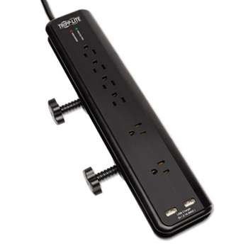 Tripp Lite TLP606DMUSB Protect It! Surge Suppressor, 6 Outlets, 6 ft Cord, 2100 Joules, Black