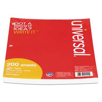 UNIVERSAL OFFICE PRODUCTS Mediumweight 16-lb. Filler Paper, 8 1/2 x 11, College Rule, White, 200 Sheets/PK