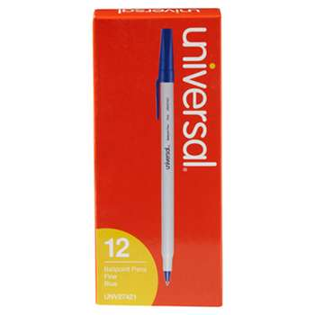 UNIVERSAL OFFICE PRODUCTS Economy Ballpoint Stick Oil-Based Pen, Blue Ink, Fine, Dozen