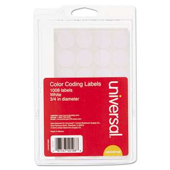 "UNIVERSAL OFFICE PRODUCTS Self-Adhesive Removable Color-Coding Labels, 3/4"" dia, White, 1008/Pack"
