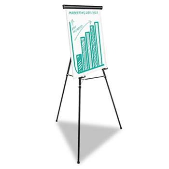 "UNIVERSAL OFFICE PRODUCTS Heavy Duty Presentation Easel, 69"" Maximum Height, Metal, Black"