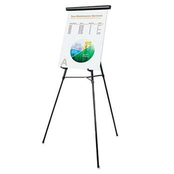 "UNIVERSAL OFFICE PRODUCTS 3-Leg Telescoping Easel with Pad Retainer, Adjusts 34"" to 64"", Aluminum, Black"
