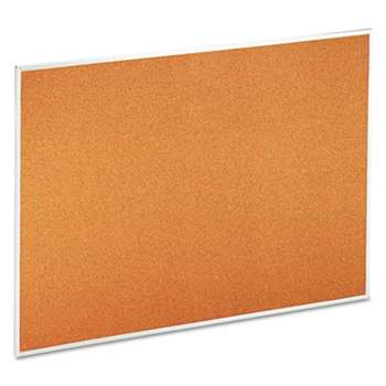 UNIVERSAL OFFICE PRODUCTS Bulletin Board, Natural Cork, 48 x 36, Satin-Finished Aluminum Frame
