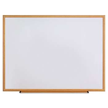 UNIVERSAL OFFICE PRODUCTS Dry Erase Board, Melamine, 48 x 36, Oak Frame