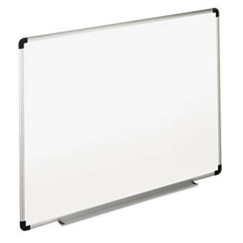 UNIVERSAL OFFICE PRODUCTS Dry Erase Board, Melamine, 36 x 24, White, Black/Gray Aluminum/Plastic Frame