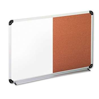 UNIVERSAL OFFICE PRODUCTS Cork/Dry Erase Board, Melamine, 36 x 24, Black/Gray, Aluminum/Plastic Frame
