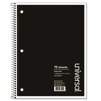 UNIVERSAL OFFICE PRODUCTS 1 Sub. Wirebound Notebook, 10 1/2 x 8, Wide Rule, 70 Sheets, Black Cover