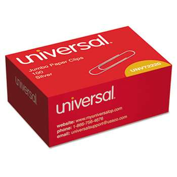 UNIVERSAL OFFICE PRODUCTS Smooth Paper Clips, Wire, Jumbo, Silver, 100/Box