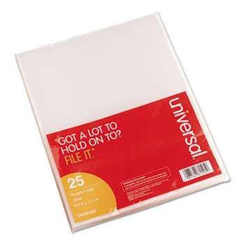 Universal 81525 Project Folders, Jacket, Poly, Letter, Clear, 25/Pack
