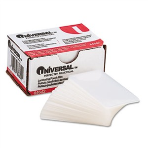UNIVERSAL OFFICE PRODUCTS Clear Laminating Pouches, 5 mil, 2 1/4 X 3 3/4, Business Card Size, 100/Box