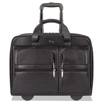 "UNITED STATES LUGGAGE Classic Leather Rolling Case, 15.6"", 16 7/10"" x 7"" x 13"", Black"