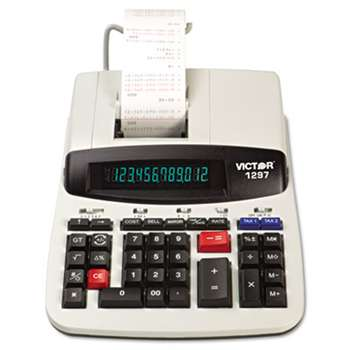 VICTOR TECHNOLOGIES 1297 Two-Color Commercial Printing Calculator, Black/Red Print, 4 Lines/Sec