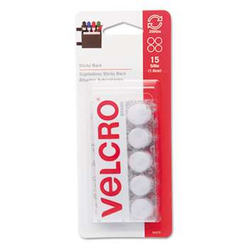 VELCRO USA, INC. Sticky-Back Hook and Loop Dot Fasteners on Strips, 5/8 dia., White, 15 Sets/Pack