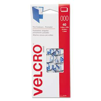 VELCRO USA, INC. Oval Hook and Loop Fasteners, 7 1/4 x 3, White, 40/Pack