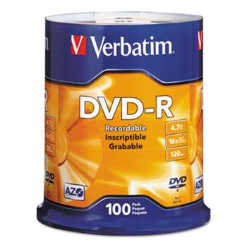 VERBATIM CORPORATION DVD-R Discs, 4.7GB, 16x, Spindle, Silver, 100/Pack