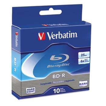 VERBATIM CORPORATION BD-R Blu-Ray Disc, 25GB, 6x, 10/Pk