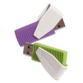 VERBATIM CORPORATION Store 'n' Go Swivel USB 2.0 Flash Drive, 16GB, Green/Violet, 2/Pack